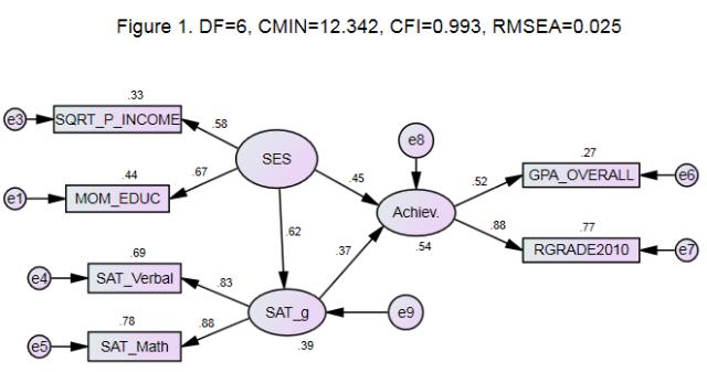 AMOS structural equation model (NLSY97) illustration F1